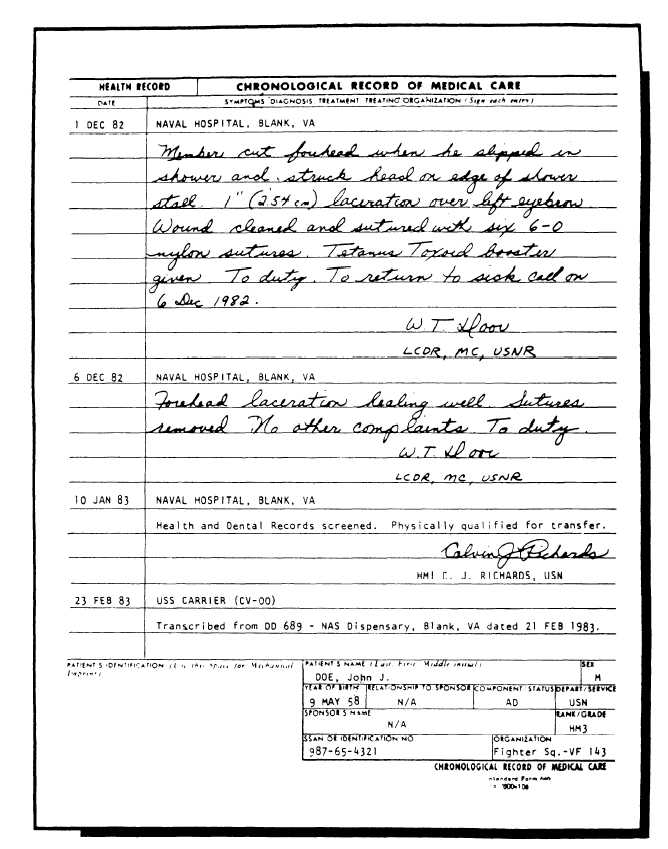 standard form 600  Figure 6-6.Standard Form 6, Chronological Record Of Care ...