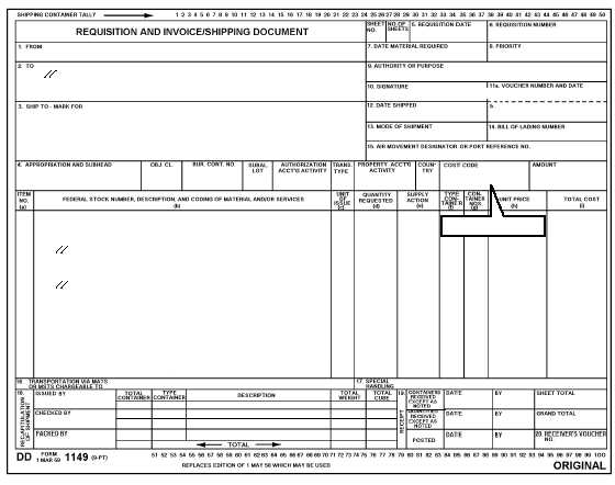 Milstrip Requisition Document: Navsup Form 1250-1